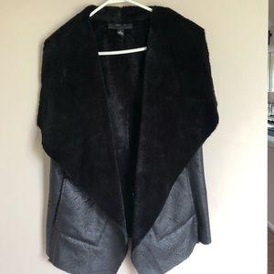 Faux fur lined sleeveless black vest
